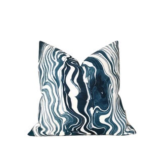 Abstract Blue Marbled Pillow Cover For Sale