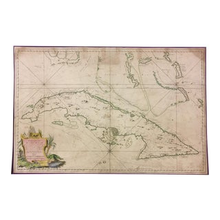 1762 Depot Des Cartes Carte Reduite De l'Isle De Cube Map of Cuba Hydrographical For Sale