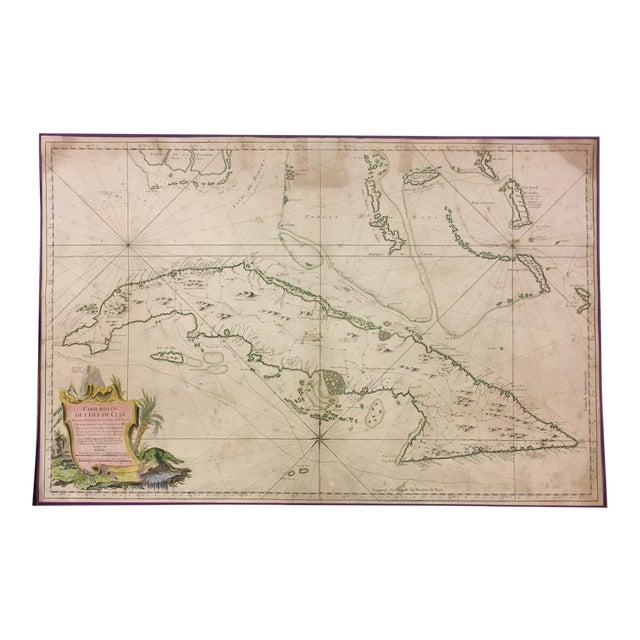 1762 Depot Des Cartes Carte Reduite De l'Isle De Cube Map of Cuba Hydrographical For Sale