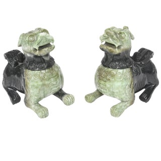 20th Century Chinese Carved Green Jade Foo Dogs - a Pair For Sale