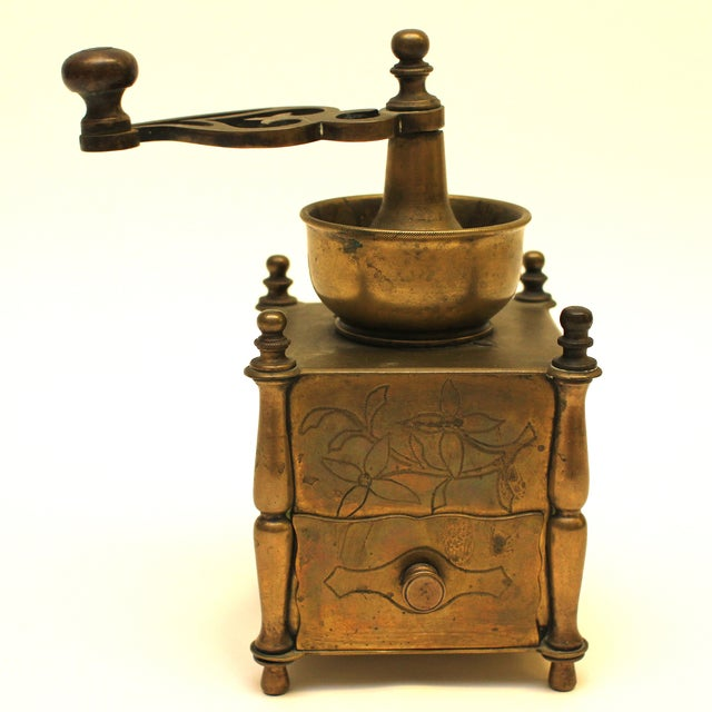 19th Century European Solid Brass Coffee Mill - Image 2 of 8