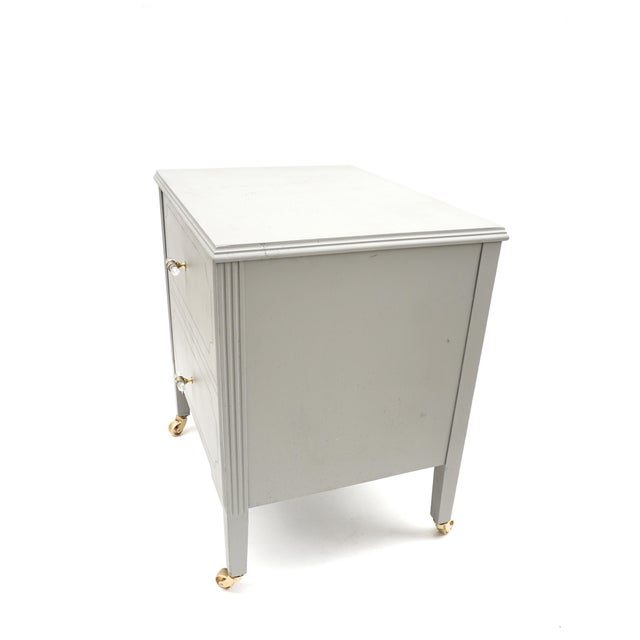 Art Deco Gray & Gold Rolling Record Cabinet For Sale - Image 9 of 11
