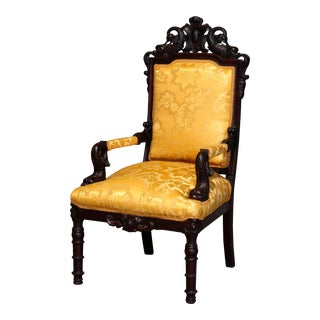Figural Baroque Style Carved Rosewood Armchair, Fleur-de-Lis and Dolphins For Sale