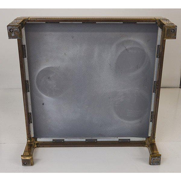 Mastercraft Coffee Table With Faux Snake Skin Embossed Leather and Hefty Brass Legs For Sale - Image 9 of 10