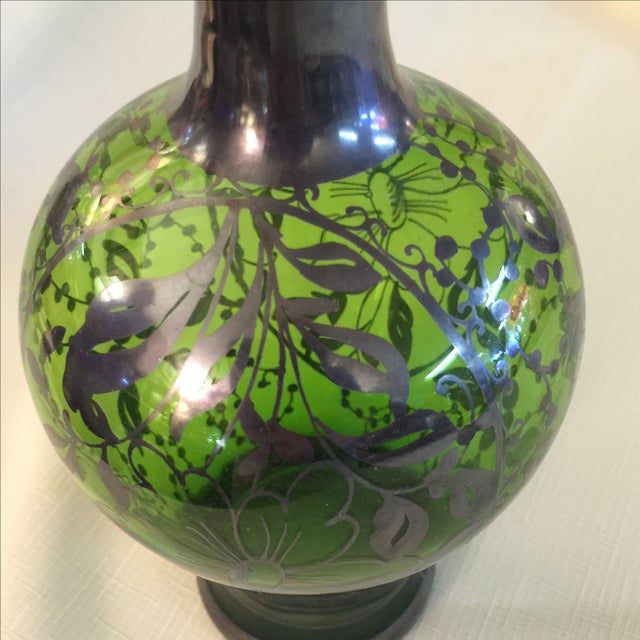 Silver Overlay Emerald Decanter - Image 3 of 3