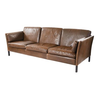 1960s Danish Modern Brown Leather Sofa by Mogens Hansen For Sale