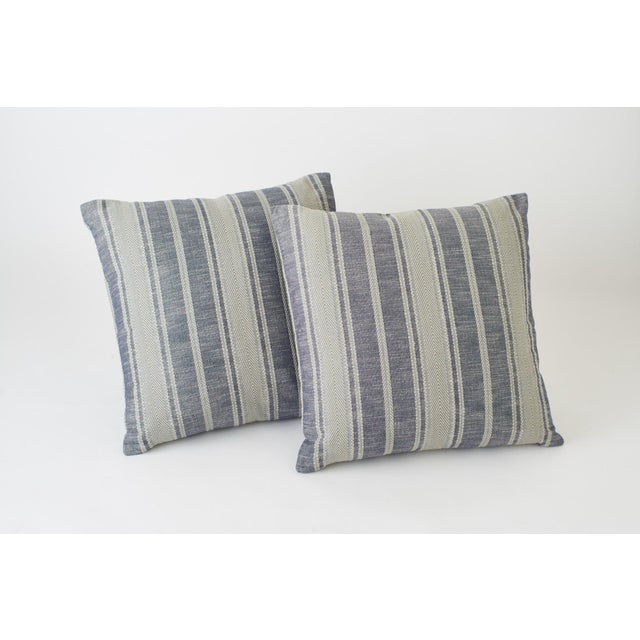 Early 21st Century Schumacher Zina Stripe Blue Square Pillow 26x26 - Pair For Sale - Image 5 of 7