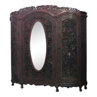 Asian Chinese Style Large Carved Teakwood 3 Door Armoire Cabinet with Oval Mirror For Sale