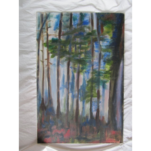 Acrylic Paint Impressionist Acrylic Painting of Redwoods For Sale - Image 7 of 7