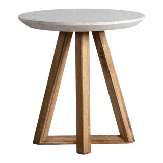 Outdoor White Terrazzo & Oak End Table For Sale
