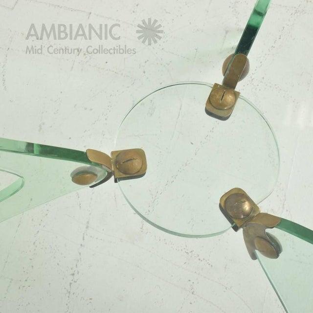 Italian Italian Glass & Bronze Coffee Table For Sale - Image 3 of 10