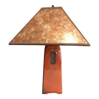 One of a Kind Artisan Made Russet Orange Ceramic Table Lamp With Mica Shade For Sale