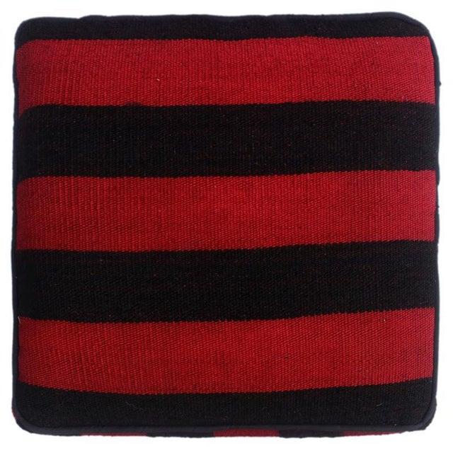 2010s Arshs Domoniqu Red/Black Kilim Upholstered Handmade Ottoman For Sale - Image 5 of 8