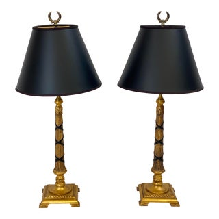 Vintage Chelsea House Black and Gold Buffet Table Lamps With Shades - a Pair For Sale