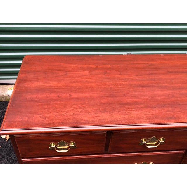 1990s Henkel Harris Solid Cherry Long Dresser For Sale - Image 5 of 13