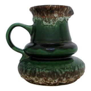 West German Dark Green Ceramic Vase For Sale