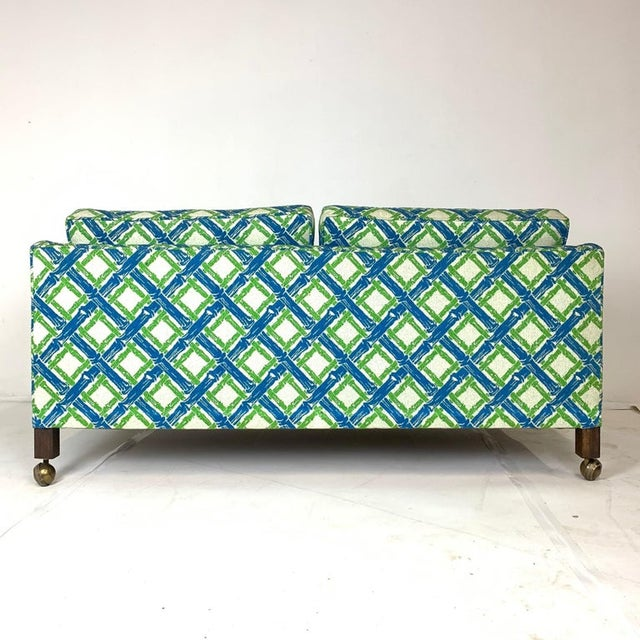 Dunbar Furniture Chinoiserie Regency Tuxedo Settees in Lattice Bamboo Upholstery - a Pair For Sale - Image 4 of 10