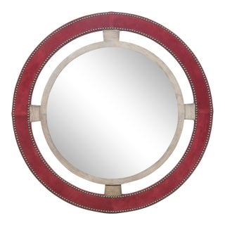 Thom Filicia for Vanguard Furniture Robineau Road Upholstered Round Mirror For Sale