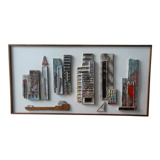 Rare Mid Century Modern Large Harris Strong New York City Skyline Ceramic Tile Plaque For Sale