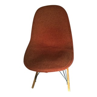 Original Charles Eames/Herman Miller Upholstered Armless Shell Chair With Wood Rockers For Sale
