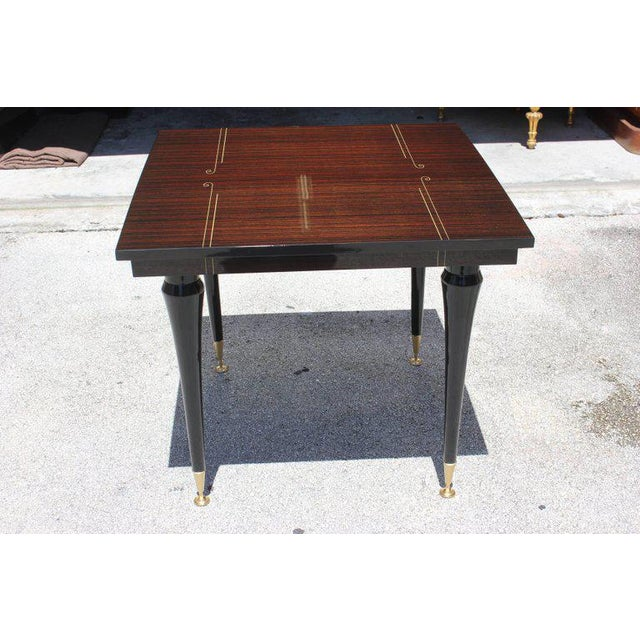 1940s Art Deco Exotic Macassar Ebony Square Center Table For Sale - Image 10 of 11