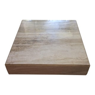 1970s Italian Travertine Monolithic Plinth Coffee Table For Sale