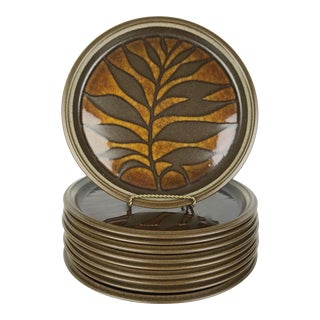 1970s Stoneware Leaf Plates by Mikasa Japan - Set of 10 For Sale