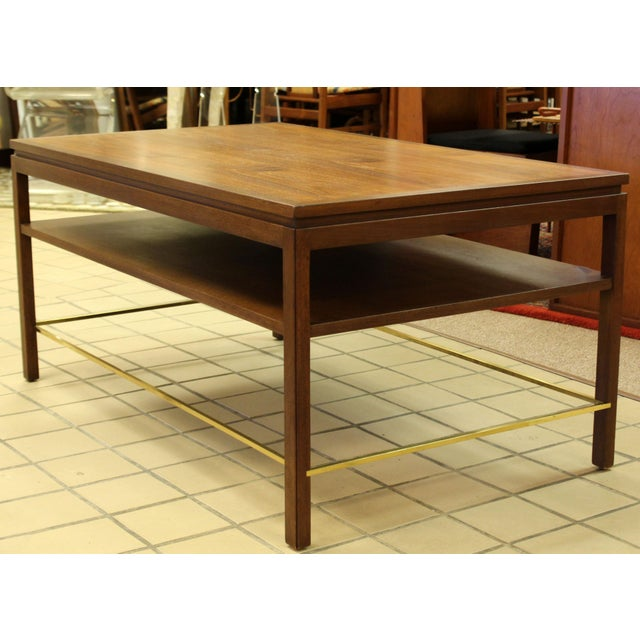 Mid-Century Modern Mid Century Modern Wormley Dunbar Walnut Brass Coffee Occasional Console Table For Sale - Image 3 of 13