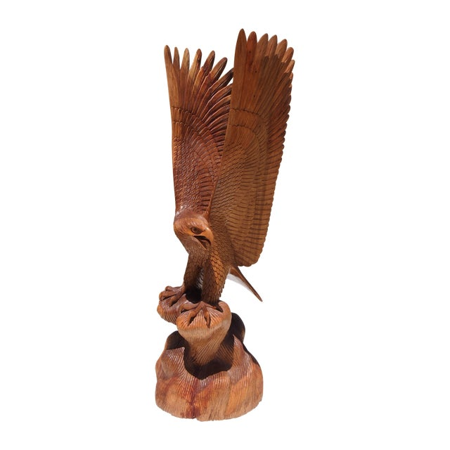 Wood Carved Eagle Sculpture - Image 1 of 6