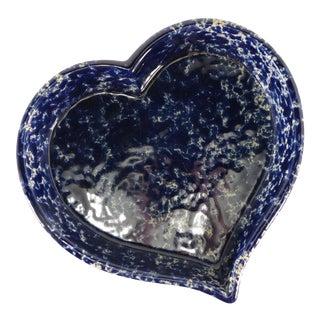 Bennington Potters Heart Dish - Blue Spongeware Pottery Baker For Sale
