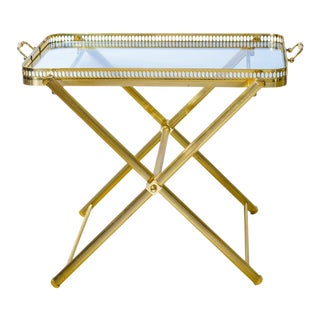 French Brass Gallery Tray Table on Folding Stand, C.1960 For Sale