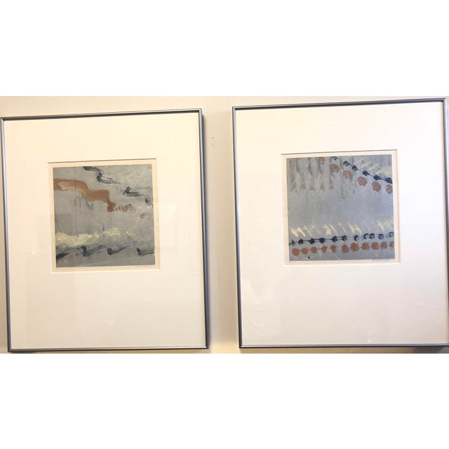 Diptych abstracts by prolific 20th century artist Syd Kramer. Each monotype is signed to the lower right in graphite and...