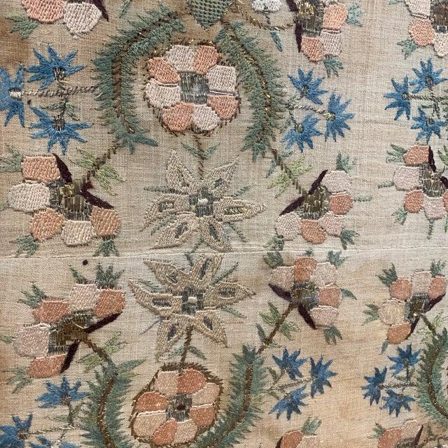 Vintage Glass Framed Textile Tray For Sale - Image 11 of 13