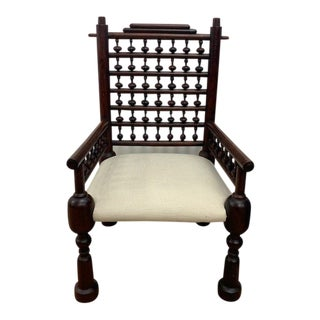 Bohemian Indian Colonial Accent Chair For Sale