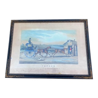 Tandem Antique Etching by T. Sutherland For Sale