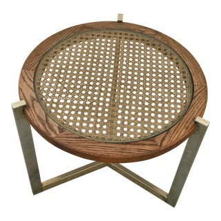 1960s Mid-Century Modern Caned Coffee Table With Chrome Base For Sale