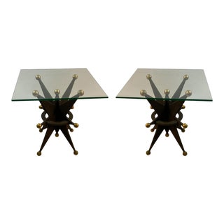 Pair of Italian Brutalist Resin Star and Gold Ball Tables For Sale