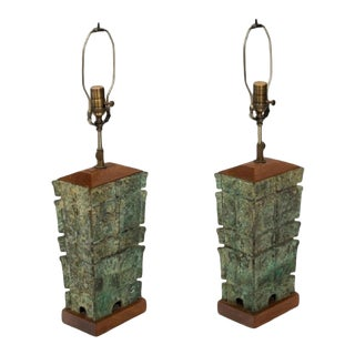 1910s Asian Bronze Lamps - a Pair For Sale