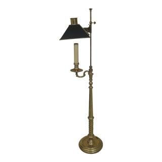 Chapman Regency Brass Floor Lamp With Black Shade For Sale