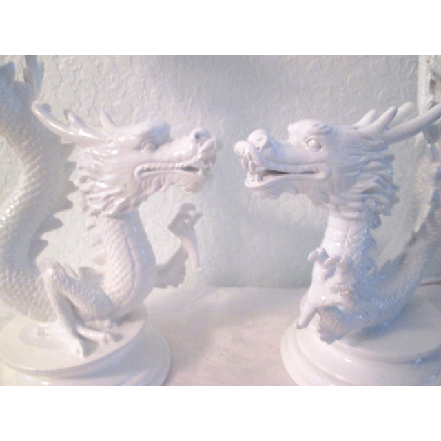 White Dragon Pillar Candle Holders - A Pair - Image 4 of 9
