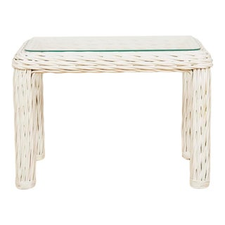 Vintage 1980s White Thick Wicker End Table
