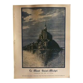 """Vintage French Color Print, """"Le Mont Saint - Michel"""" by M. Perronnel - 1936 For Sale"""