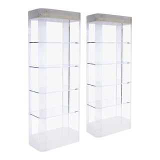 Pair of Lighted Lucite Etageres For Sale