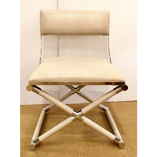 Stylish Caracole Mid-Century Modern Style Cream Leather and Nickel Accent Chair, Prototype, I can help with shipping,...