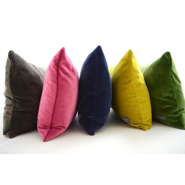 Contemporary FirmaMenta Italian Chartreuse Velvet Lumbar Pillow For Sale - Image 3 of 7