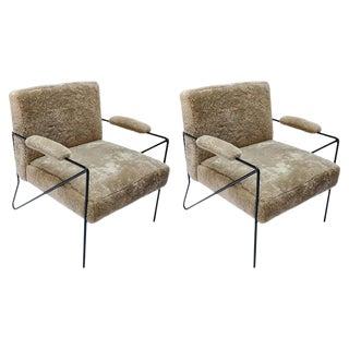 Custom Black Metal Armchairs in Tan Sheepskin For Sale
