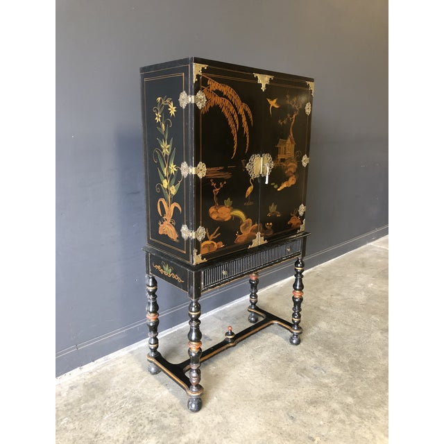 Asian 1920s Antique Black Lacquer Chinese Cabinet For Sale - Image 3 of 11