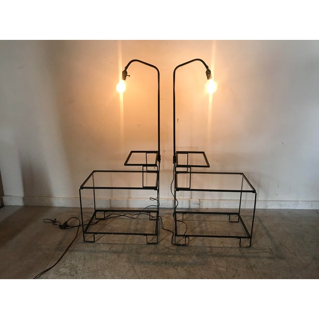 Mid-Century Wrought Iron Table & Lamp Combo in the Style of Weinberg, McCobb For Sale In Buffalo - Image 6 of 13