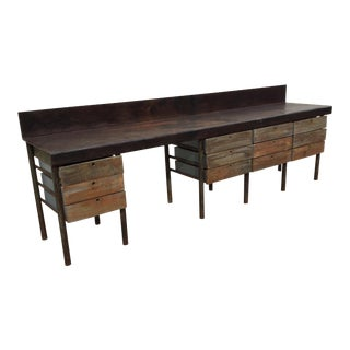 Industrial Style Work Table For Sale