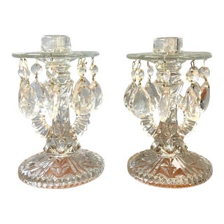 1940s Vintage Pressed Glass Candlesticks With Crystal Teardrops - A Pair